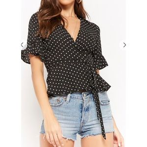 NWT Polka Dot Surplice Wrap Top